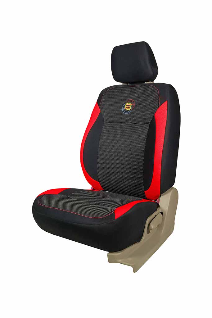 F1 Fabric Car Seat Cover Black and Red