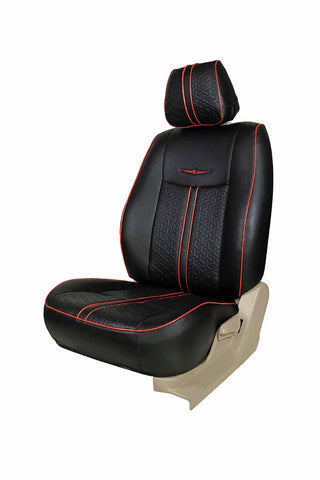 Nappa Magnum Art Leather Car Seat Cover Black and Red