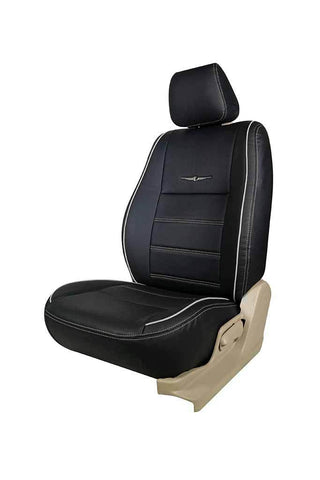 Nappa Magnum Art Leather Car Seat Cover Black and Silver