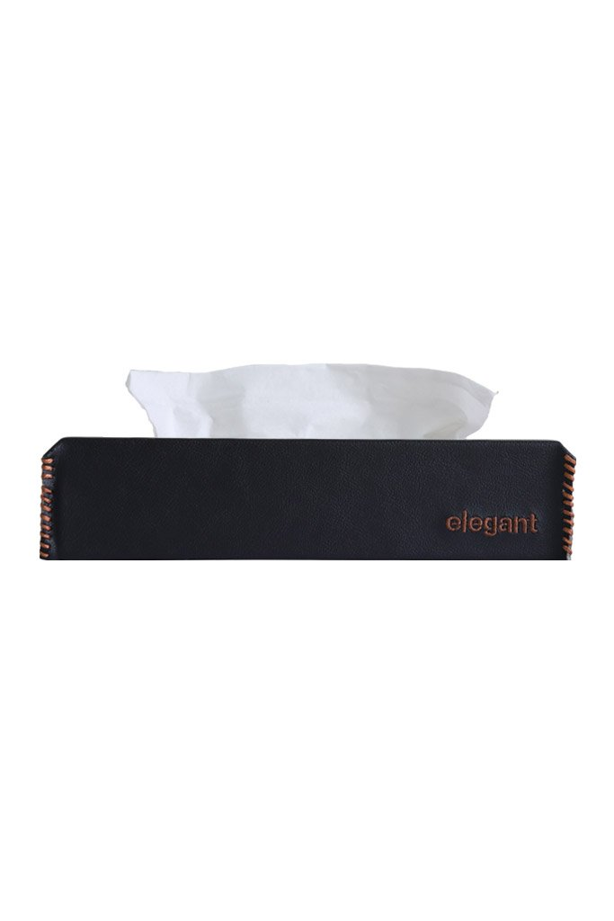 Nappa Leather Tissue Box Black and Tan