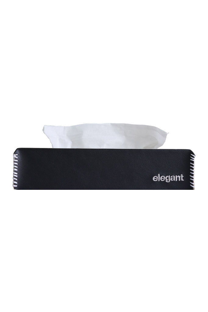 Nappa Leather Tissue Box Black and White