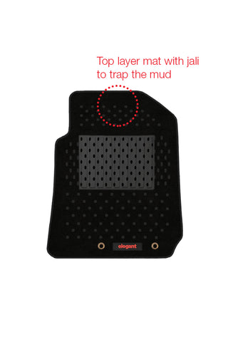 2 Layers Basket Car Floor Mat Black (Set of 5)