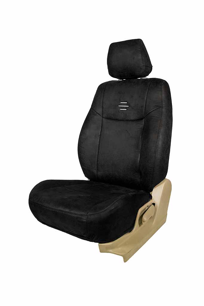 Nubuck Patina Leather Feel Fabric Car Seat Cover Black