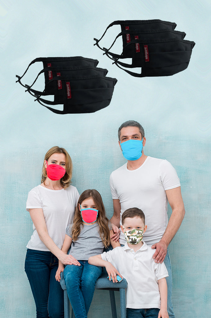 Elegant Cotton Face Mask Black String Tieup Family Pack