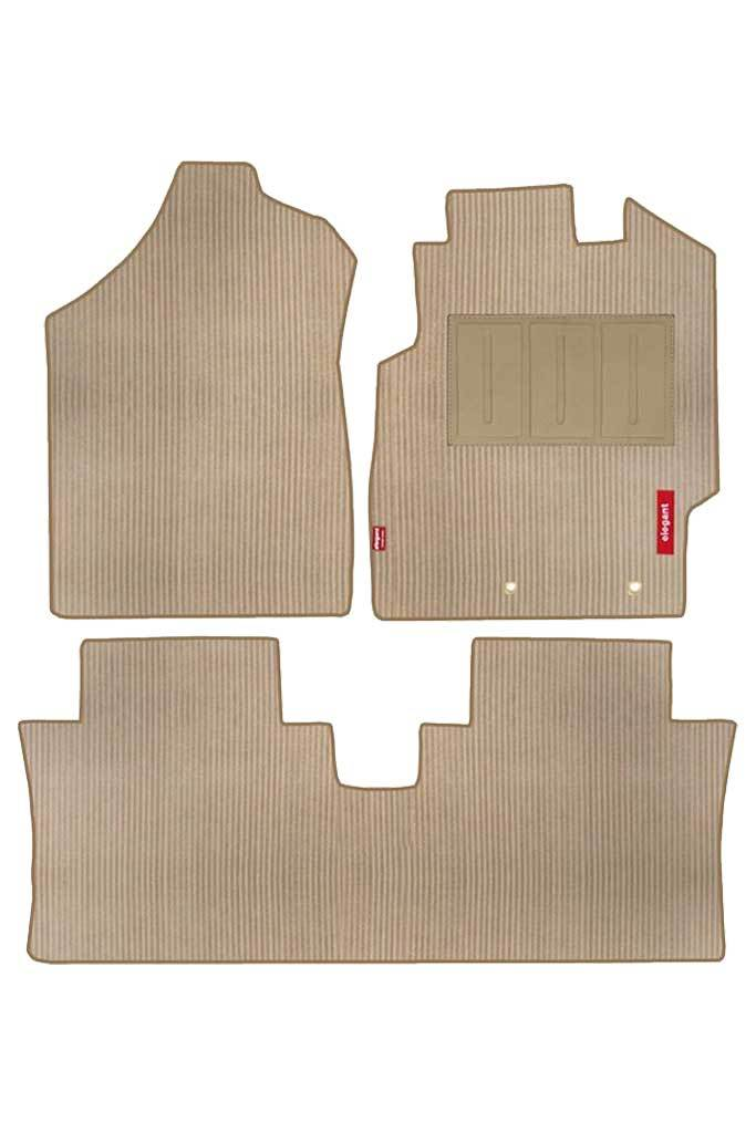 Cord Carpet Car Floor Mat Beige (Set of 3)