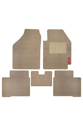 Cord Carpet Car Floor Mat Beige (Set of 5)