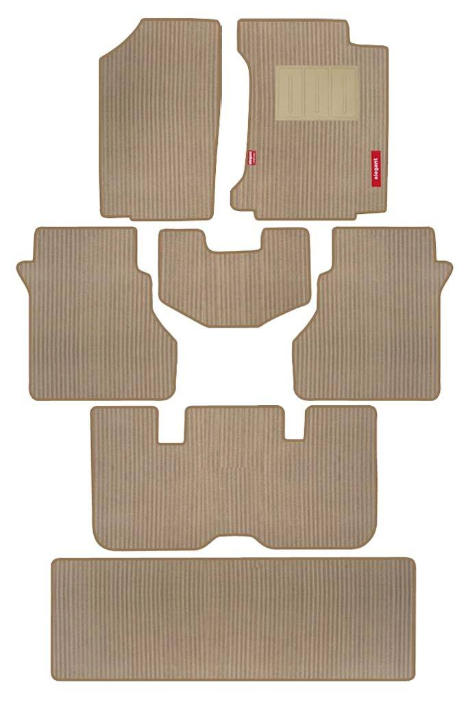 Cord Carpet Car Floor Mat Beige (Set of 7)