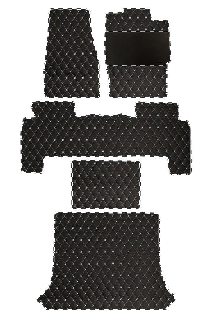 Luxury Leatherette Car Floor Mat Black and White (Set of 5)