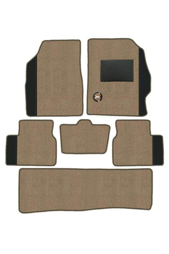 Duo Carpet Car Floor Mat Beige and Black (Set of 6)