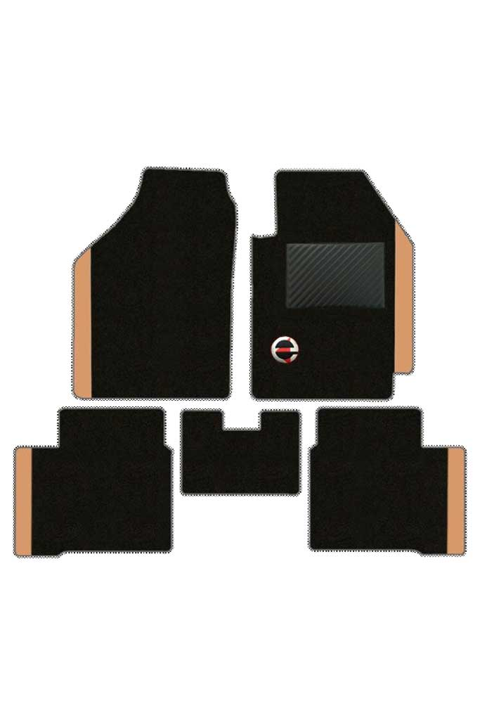 Duo Carpet Car Floor Mat Black and Beige (Set of 5)