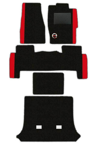 Duo Carpet Car Floor Mat Black and Red (Set of 5)