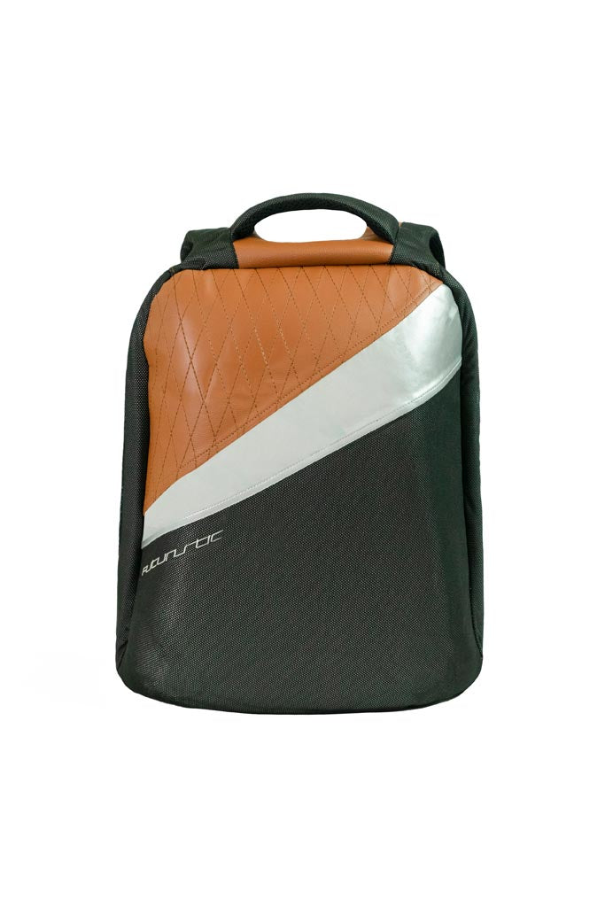 Futuristic Anti-Theft Hard Shell Backpack Black and Tan