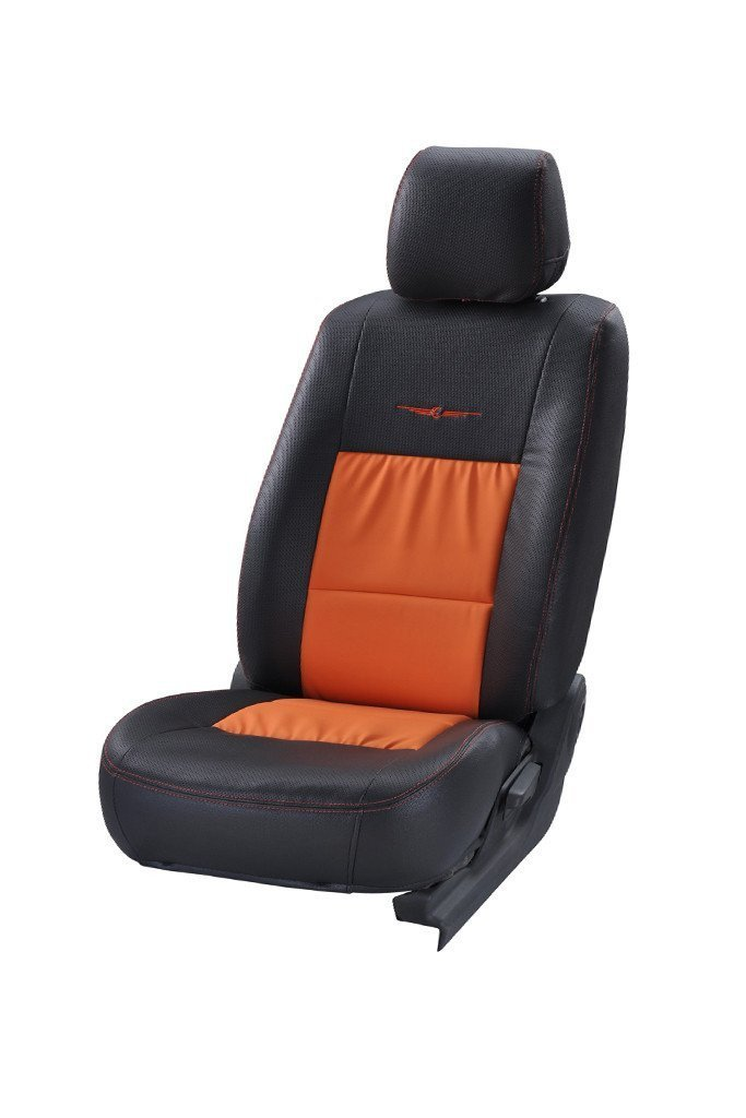 Trend Neo Gladiator Duo Art Leather Car Seat Cover Black and Orange