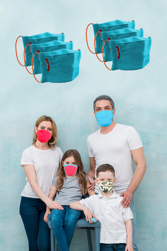 Elegant Cotton Face Mask Blue  Elastic Tieup Family Pack