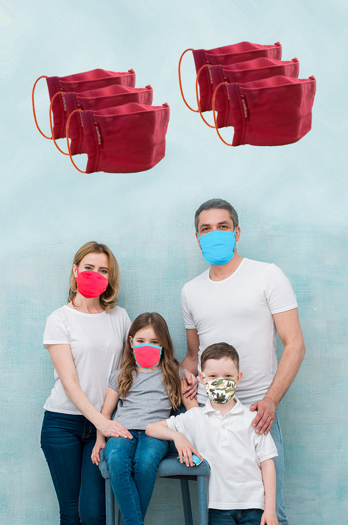 Elegant Cotton Face Mask Pink String Tieup Family Pack