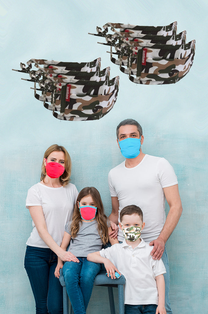 Elegant Cotton Face Mask Camouflage String Tieup Family Pack