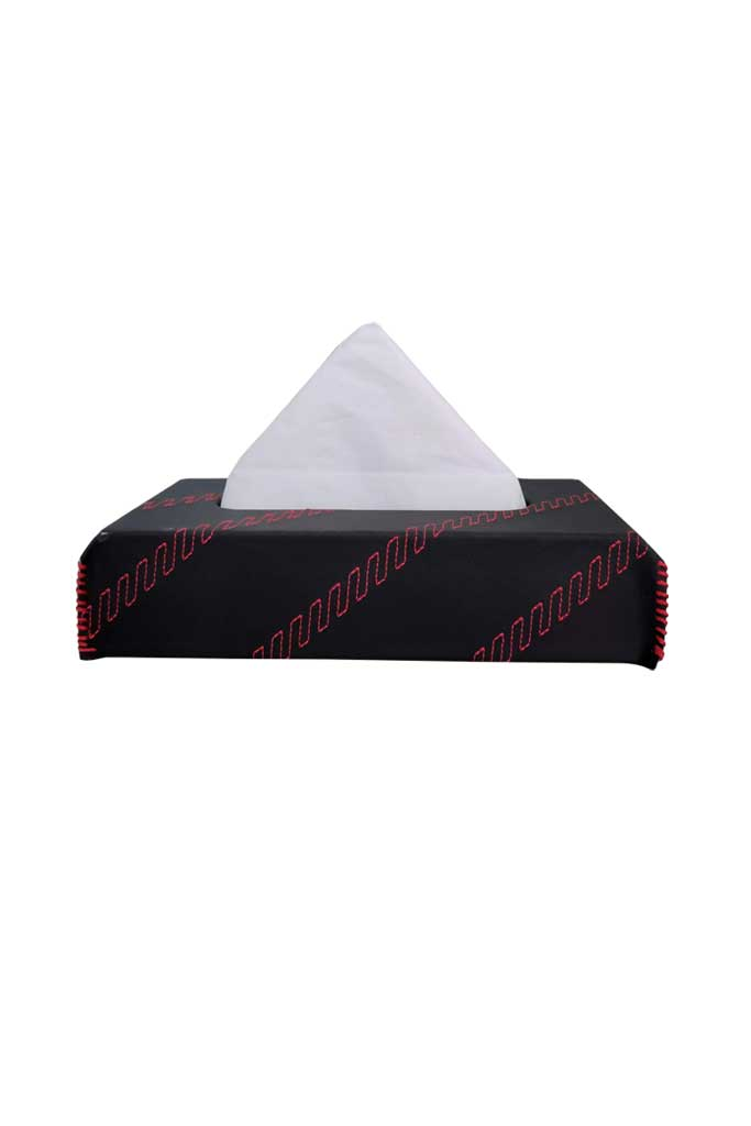 Nappa Leather Cross 2 Tissue Box Black and Red