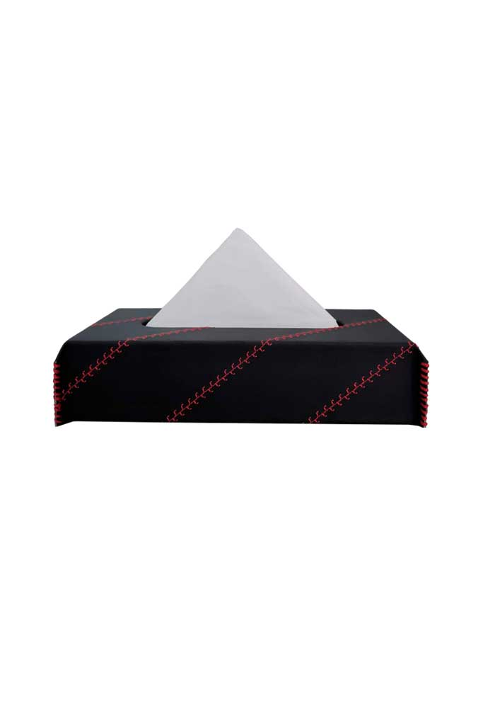 Nappa Leather Cross 1 Tissue Box Black and Red