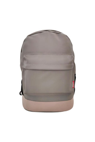 Leatherette Laptop Backpack Grey and Beige