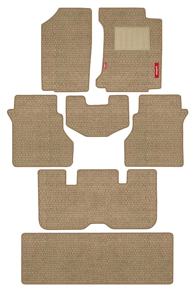 Popcorn Carpet Car Floor Mat Beige (Set of 7)