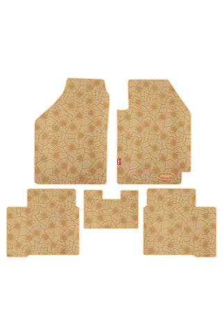 Printed Car Floor Mats Beige (Set of 5)