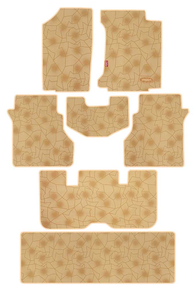 Printed Car Floor Mats Beige (Set of 7)