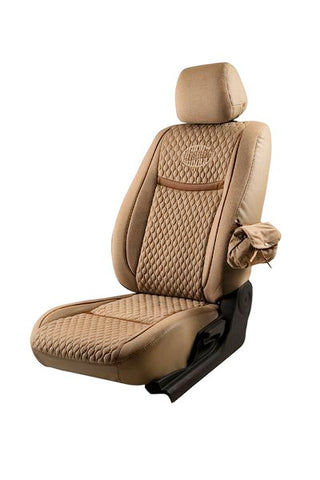 Denim Retro Velvet Fabric Car Seat Cover Beige