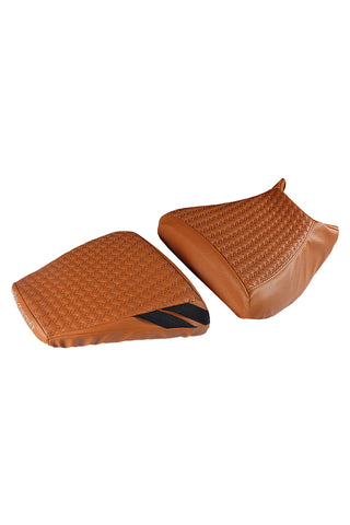 Rodeo Luxury Twin Bike Seat Cover Tan with Black Side Detail for KTM Duke
