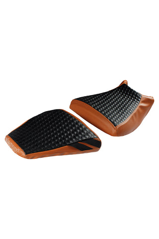 Rodeo Luxury Twin Bike Seat Cover Tan with Black Top for KTM Duke