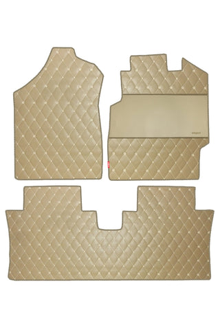 Luxury Leatherette Car Floor Mat Beige (Set of 3)