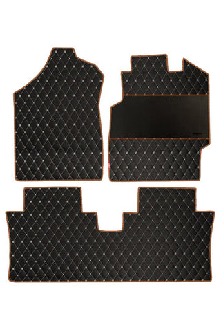 Luxury Leatherette Car Floor Mat Black and Orange (Set of 3)
