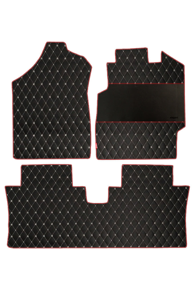 Luxury Leatherette Car Floor Mat Black and Red (Set of 3)