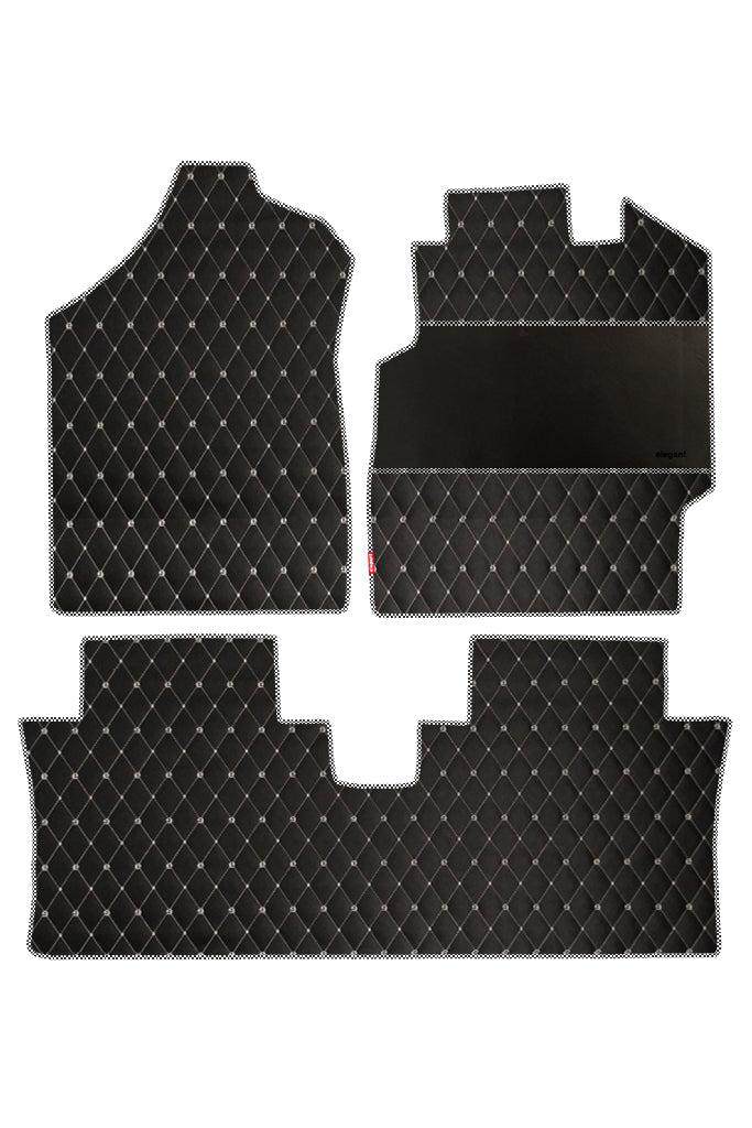 Luxury Leatherette Car Floor Mat Black and White (Set of 3)