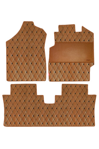 Luxury Leatherette Car Floor Mat Tan (Set of 3)