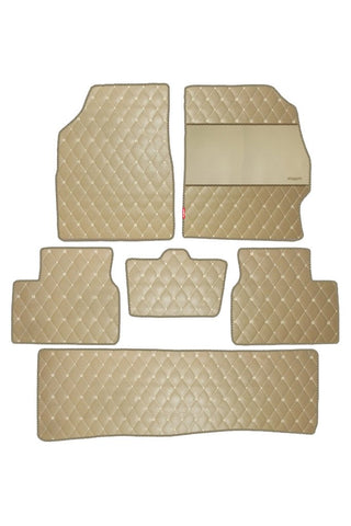 Luxury Leatherette Car Floor Mat Beige (Set of 6)