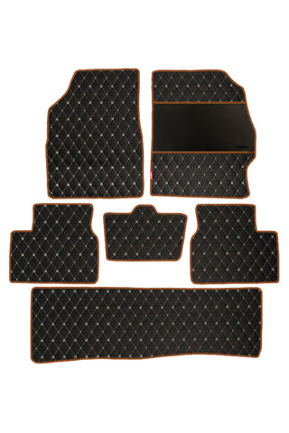 Luxury Leatherette Car Floor Mat Black and Orange (Set of 6)