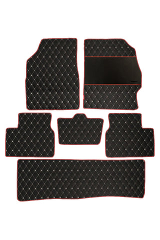 Luxury Leatherette Car Floor Mat Black and Red (Set of 6)