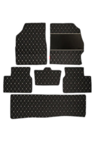 Luxury Leatherette Car Floor Mat Black and White (Set of 6)