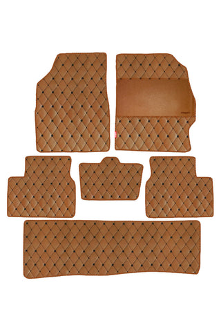 Luxury Leatherette Car Floor Mat Tan (Set of 6)