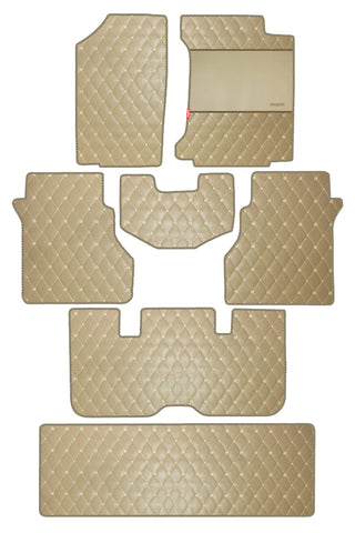 Luxury Leatherette Car Floor Mat Beige (Set of 7)