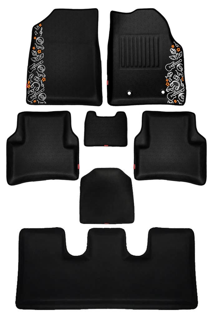 5D Car Floor Mat Black and Red (Set of 6)