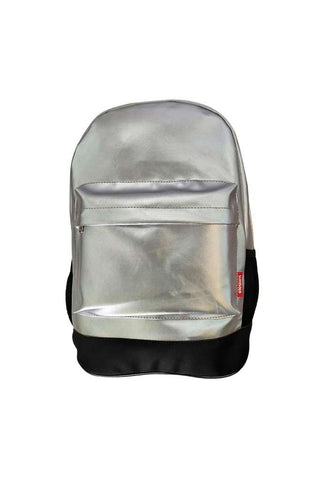 Leatherette Laptop Backpack Silver and Black
