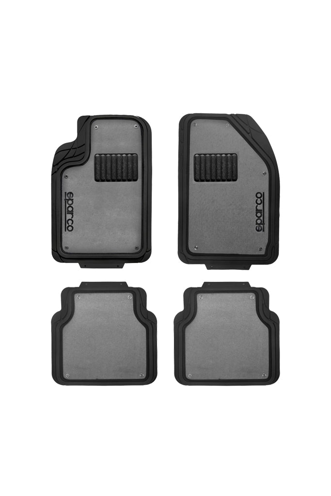 Sparco PVC Car Floor Mat Black and Grey (Set of 4)