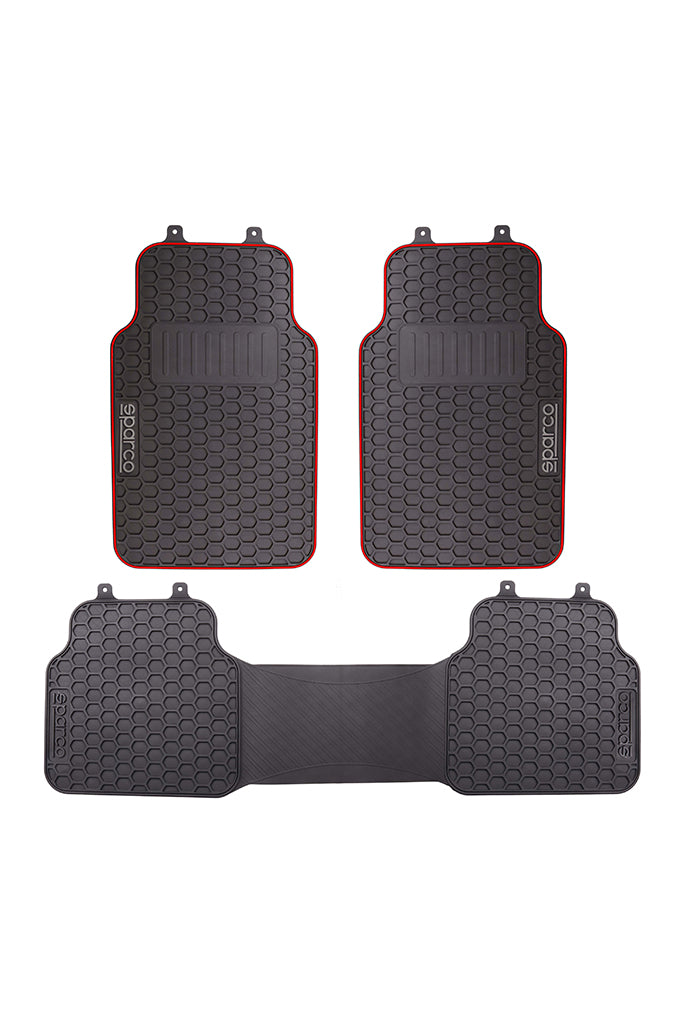 Sparco PVC Car Floor Mat Black and Red (Set of 3)