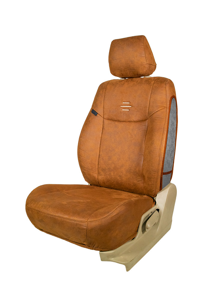 Nubuck Patina Leather Feel Fabric Airbag Friendly Car Seat Cover Tan