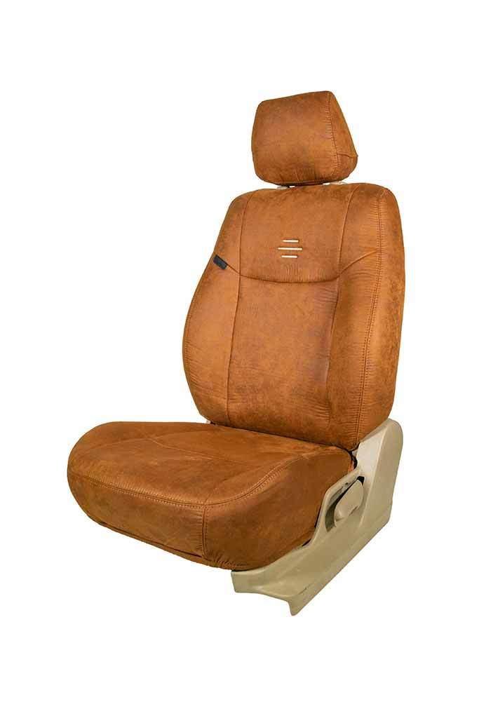 Nubuck Patina Leather Feel Fabric Car Seat Cover Tan