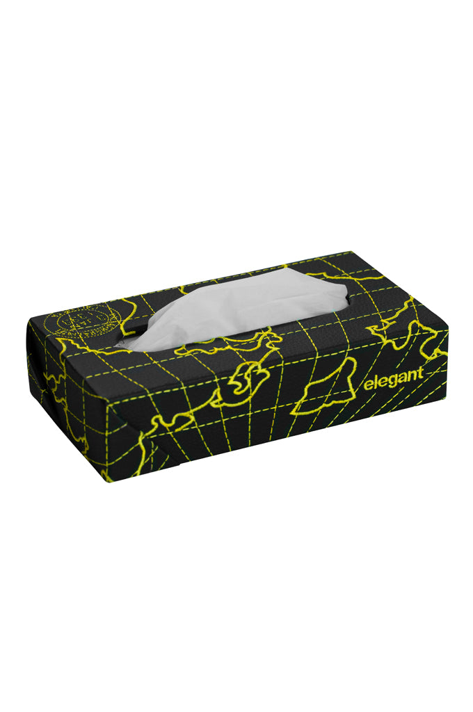 Nappa Leather Globe Tissue Box Black and Yellow