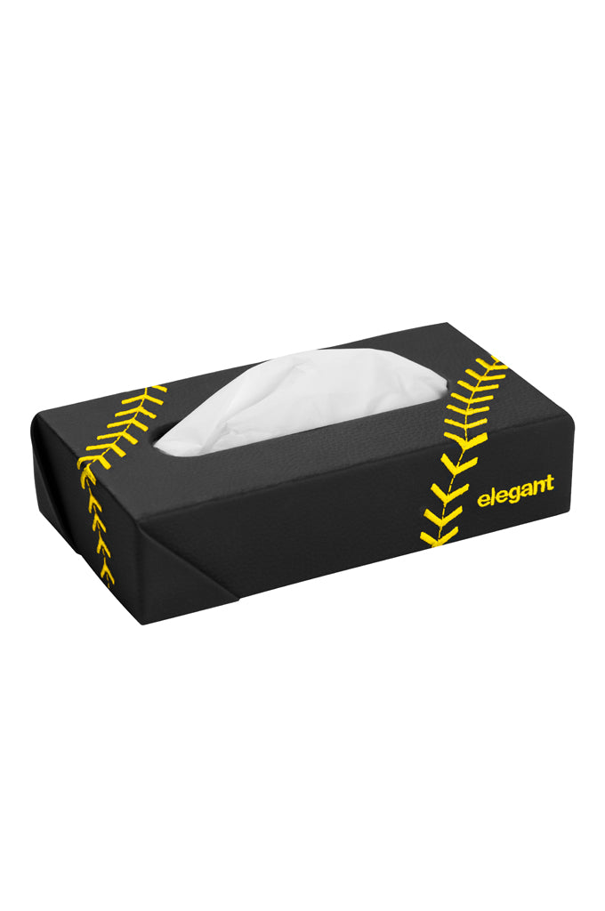 Nappa Leather Tissue Box Leaf Black and Yellow