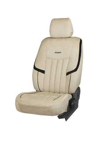 King Velvet Fabric Car Seat Cover Beige