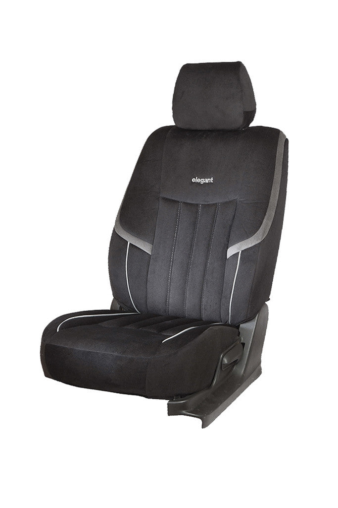 King Velvet Fabric Car Seat Cover Black